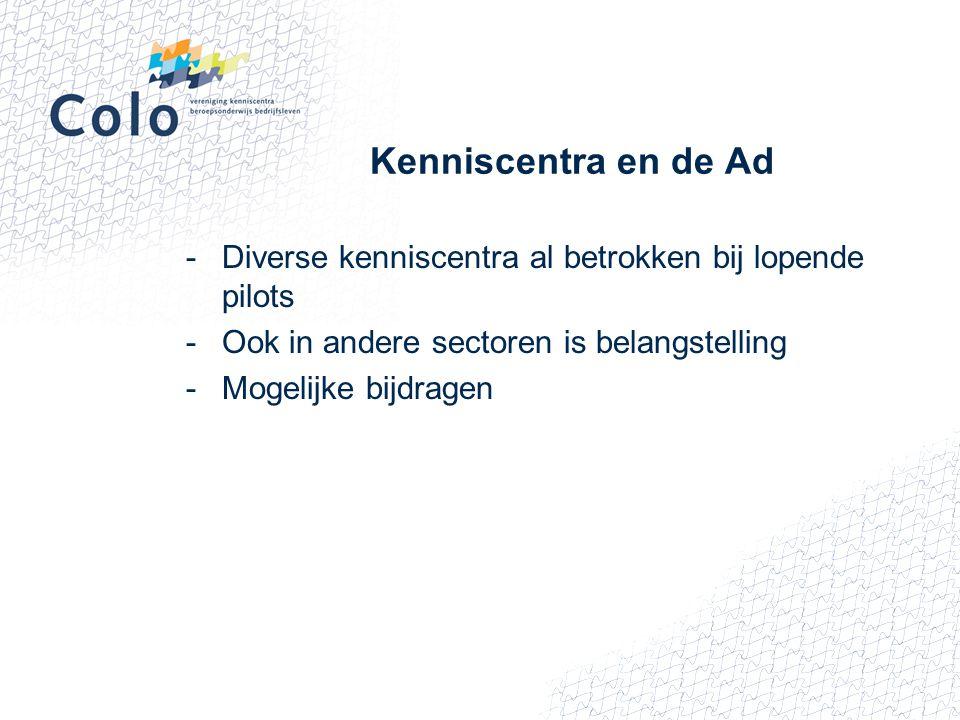Kenniscentra en de Ad -Diverse kenniscentra al betrokken bij lopende pilots -Ook in andere sectoren is belangstelling -Mogelijke bijdragen