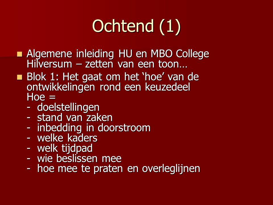 Ochtend (1) Algemene inleiding HU en MBO College Hilversum – zetten van een toon… Algemene inleiding HU en MBO College Hilversum – zetten van een toon
