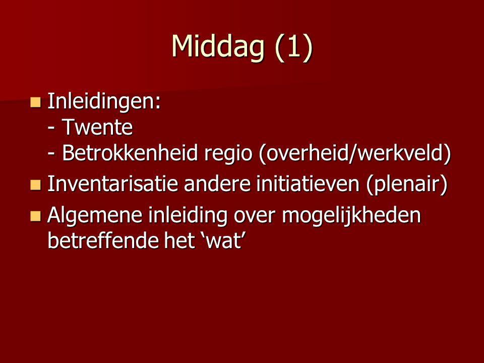 Middag (1) Inleidingen: - Twente - Betrokkenheid regio (overheid/werkveld) Inleidingen: - Twente - Betrokkenheid regio (overheid/werkveld) Inventarisa