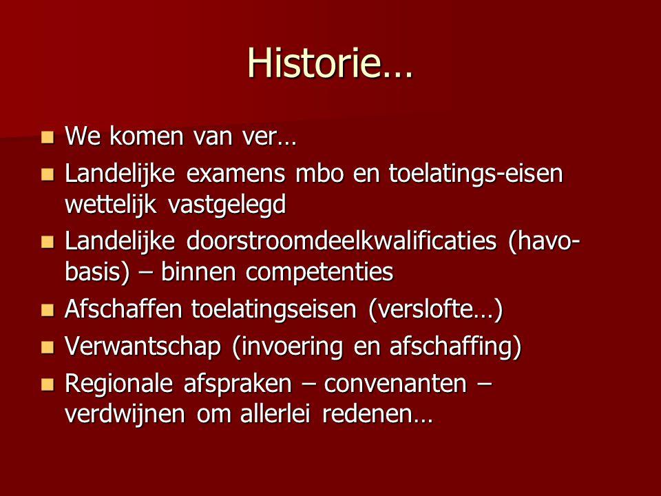 Historie… We komen van ver… We komen van ver… Landelijke examens mbo en toelatings-eisen wettelijk vastgelegd Landelijke examens mbo en toelatings-eis