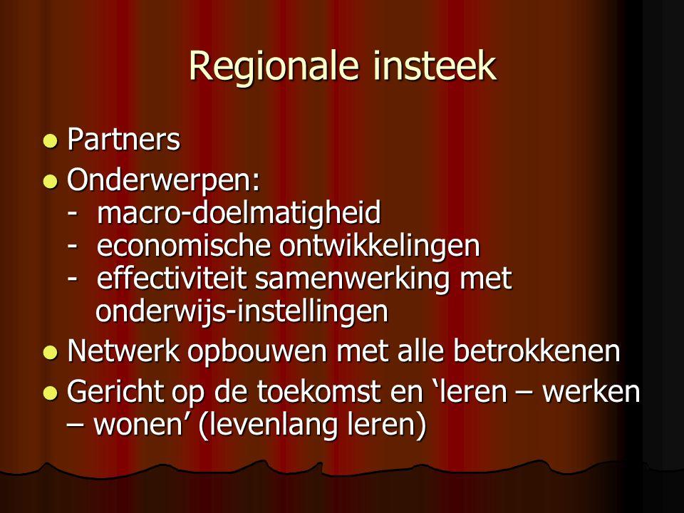 Regionale insteek Partners Partners Onderwerpen: - macro-doelmatigheid - economische ontwikkelingen - effectiviteit samenwerking met onderwijs-instell