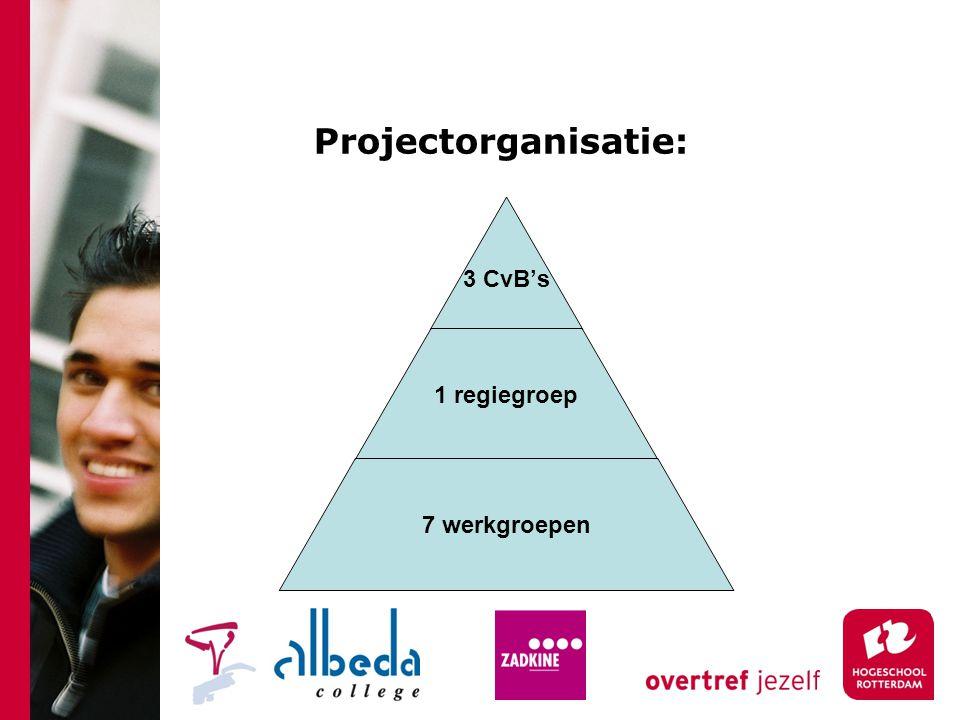 Projectorganisatie: 3 CvB's 1 regiegroep 7 werkgroepen