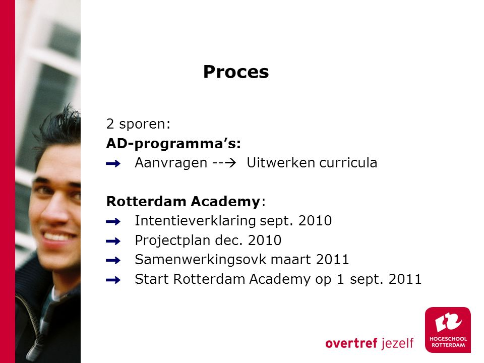 Proces 2 sporen: AD-programma's: Aanvragen --  Uitwerken curricula Rotterdam Academy: Intentieverklaring sept.