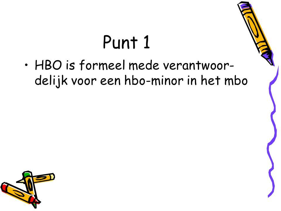 Punt 1 HBO is formeel mede verantwoor- delijk voor een hbo-minor in het mbo