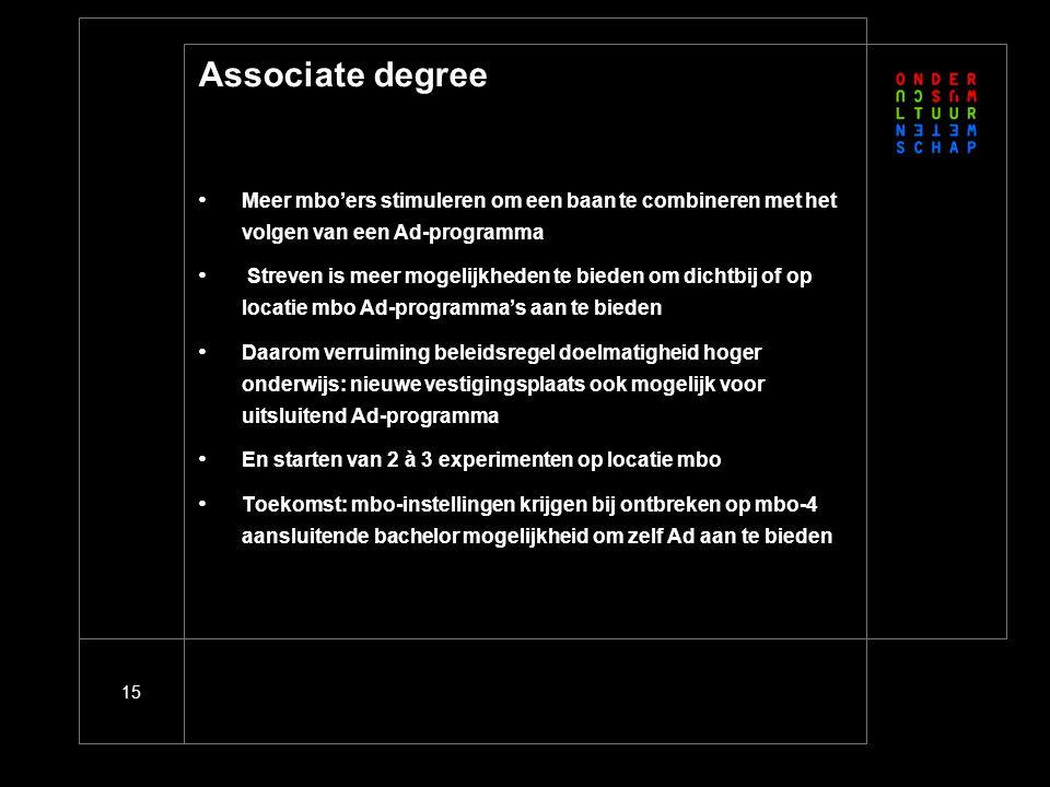 15 Associate degree Meer mbo'ers stimuleren om een baan te combineren met het volgen van een Ad-programma Streven is meer mogelijkheden te bieden om d