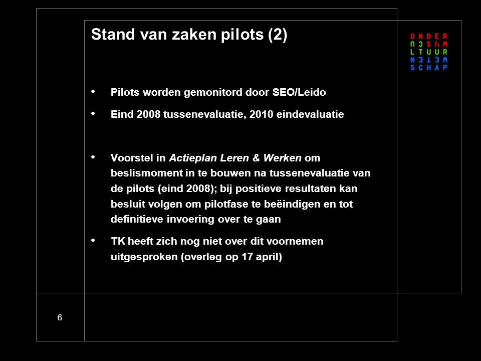 6 Stand van zaken pilots (2) Pilots worden gemonitord door SEO/Leido Eind 2008 tussenevaluatie, 2010 eindevaluatie Voorstel in Actieplan Leren & Werke
