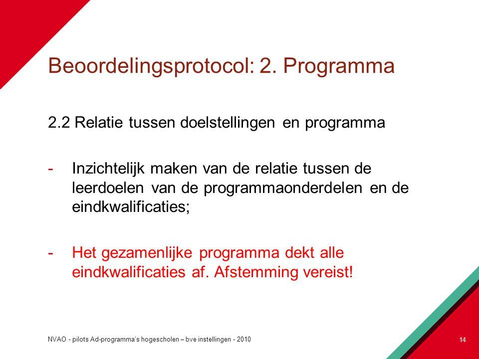 Beoordelingsprotocol: 2. Programma 2.2 Relatie tussen doelstellingen en programma -Inzichtelijk maken van de relatie tussen de leerdoelen van de progr