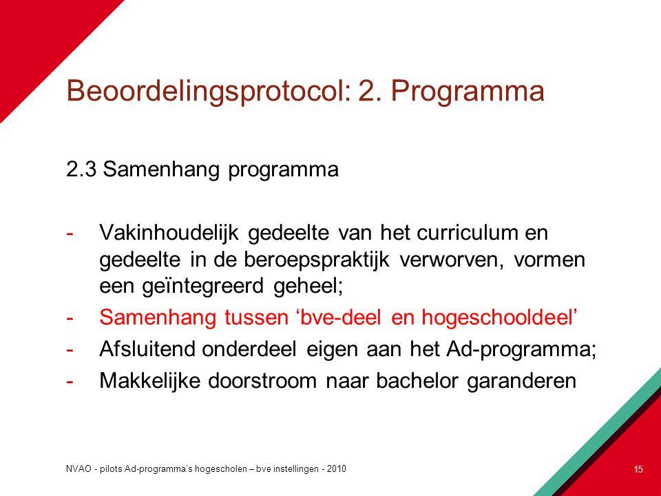 Beoordelingsprotocol: 2. Programma 2.3 Samenhang programma -Vakinhoudelijk gedeelte van het curriculum en gedeelte in de beroepspraktijk verworven, vo