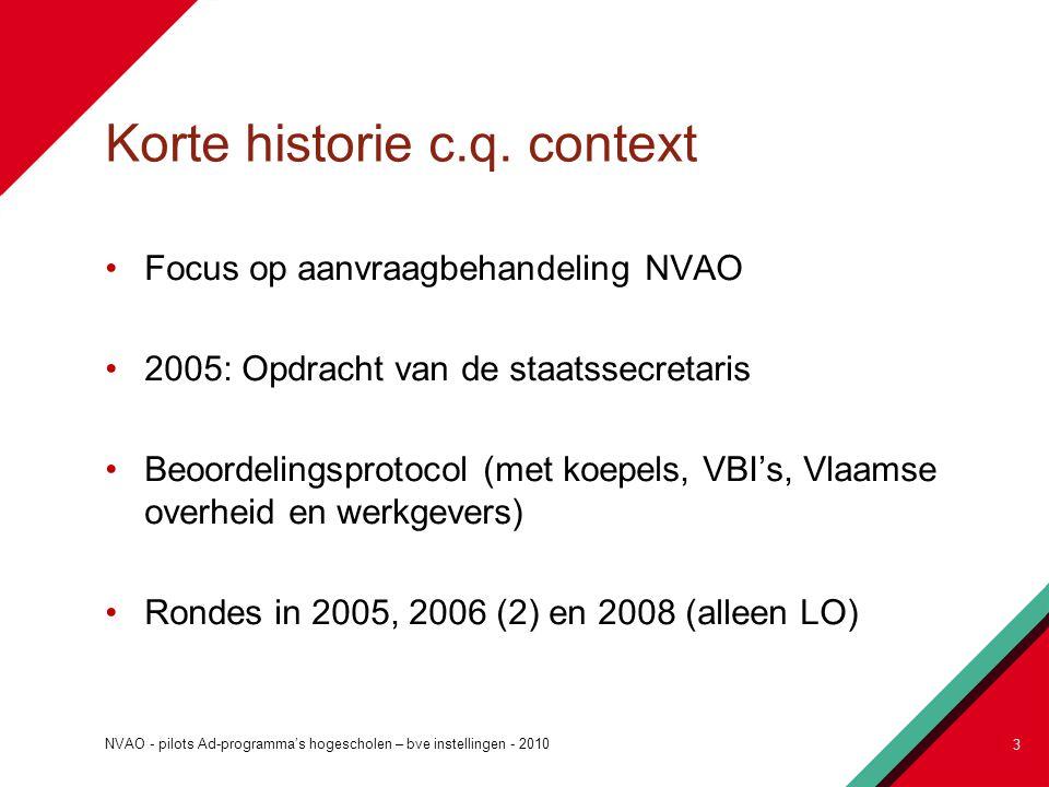 Korte historie c.q. context Focus op aanvraagbehandeling NVAO 2005: Opdracht van de staatssecretaris Beoordelingsprotocol (met koepels, VBI's, Vlaamse