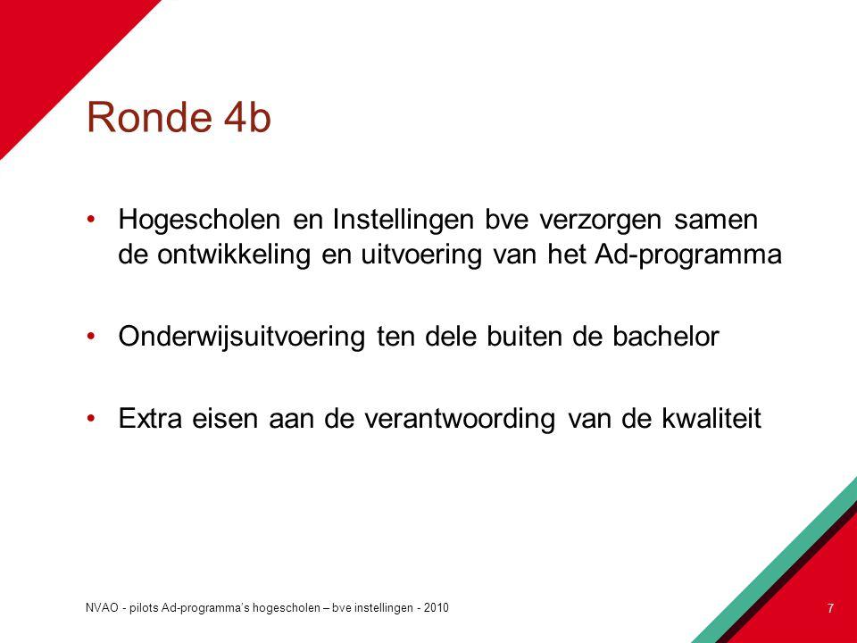 Ronde 4b Hogescholen en Instellingen bve verzorgen samen de ontwikkeling en uitvoering van het Ad-programma Onderwijsuitvoering ten dele buiten de bac