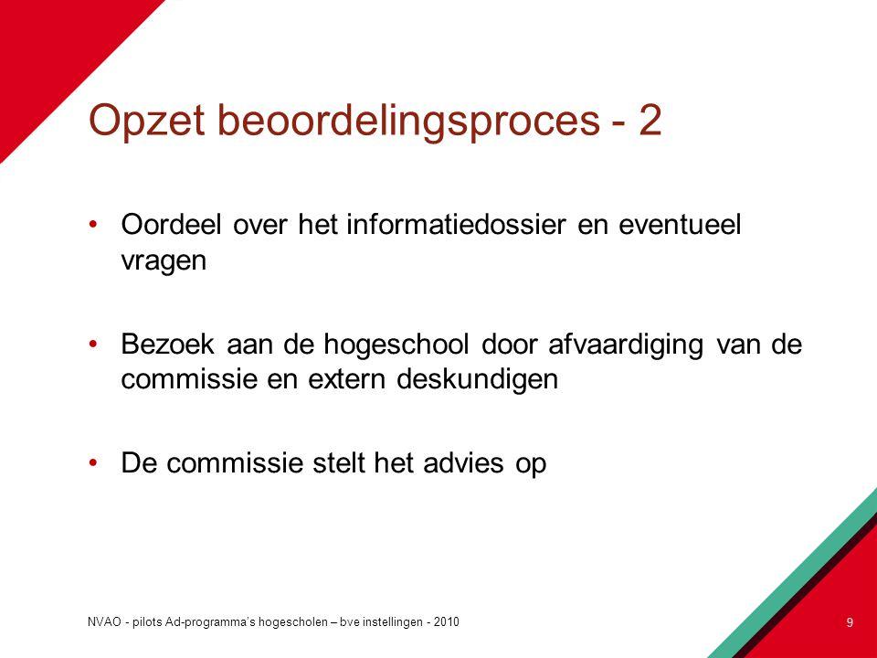 Opzet beoordelingsproces - 2 Oordeel over het informatiedossier en eventueel vragen Bezoek aan de hogeschool door afvaardiging van de commissie en ext