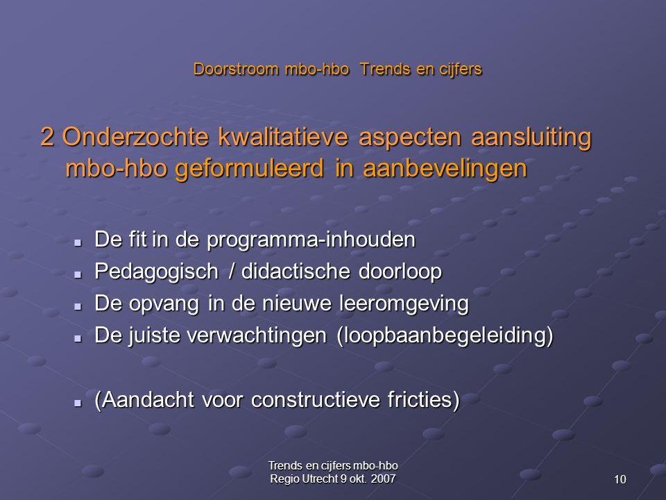 10 Trends en cijfers mbo-hbo Regio Utrecht 9 okt. 2007 Doorstroom mbo-hbo Trends en cijfers Doorstroom mbo-hbo Trends en cijfers 2 Onderzochte kwalita