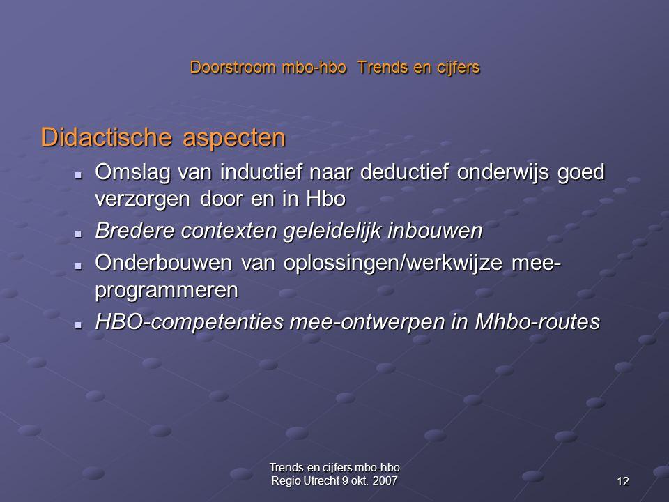 12 Trends en cijfers mbo-hbo Regio Utrecht 9 okt.