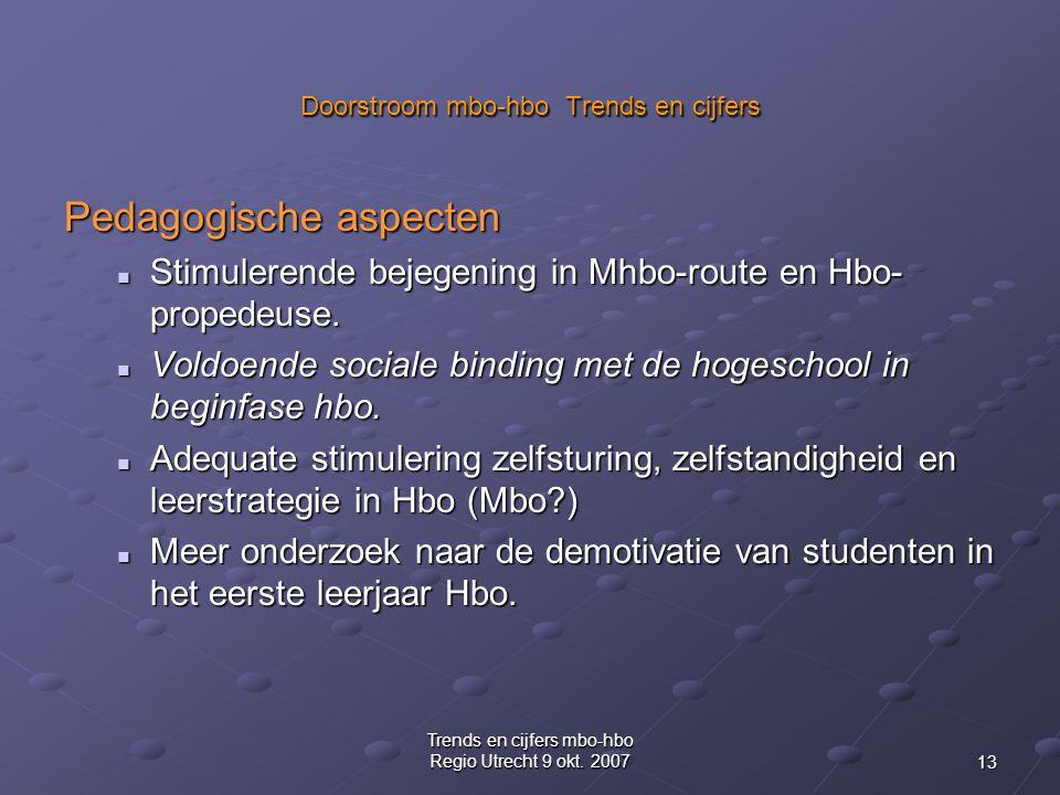 13 Trends en cijfers mbo-hbo Regio Utrecht 9 okt.
