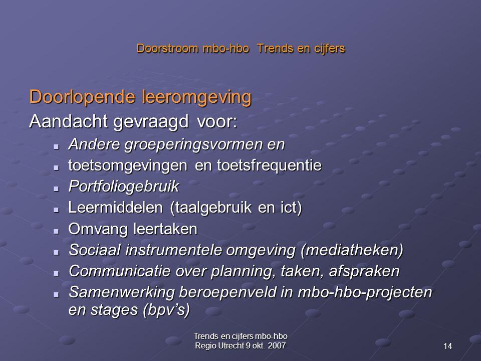 14 Trends en cijfers mbo-hbo Regio Utrecht 9 okt.