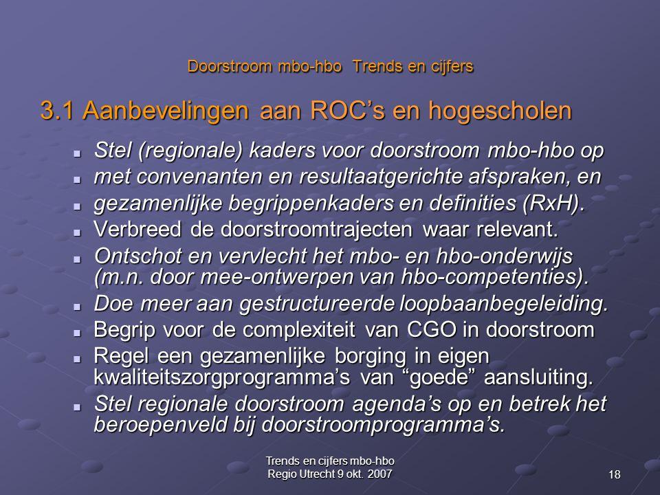 18 Trends en cijfers mbo-hbo Regio Utrecht 9 okt. 2007 Doorstroom mbo-hbo Trends en cijfers 3.1 Aanbevelingen aan ROC's en hogescholen Stel (regionale