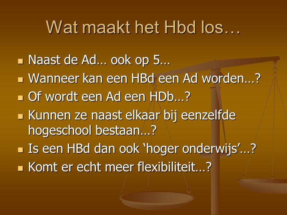 Wat maakt het Hbd los… Naast de Ad… ook op 5… Naast de Ad… ook op 5… Wanneer kan een HBd een Ad worden….