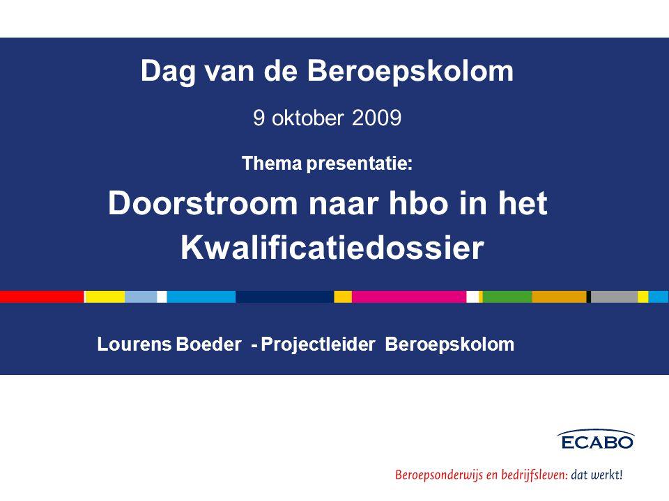 . Dag van de Beroepskolom 9 oktober 2009 Thema presentatie: Doorstroom naar hbo in het Kwalificatiedossier Lourens Boeder - Projectleider Beroepskolom