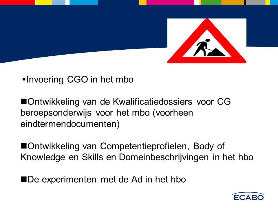  Invoering CGO in het mbo Ontwikkeling van de Kwalificatiedossiers voor CG beroepsonderwijs voor het mbo (voorheen eindtermendocumenten) Ontwikkeling