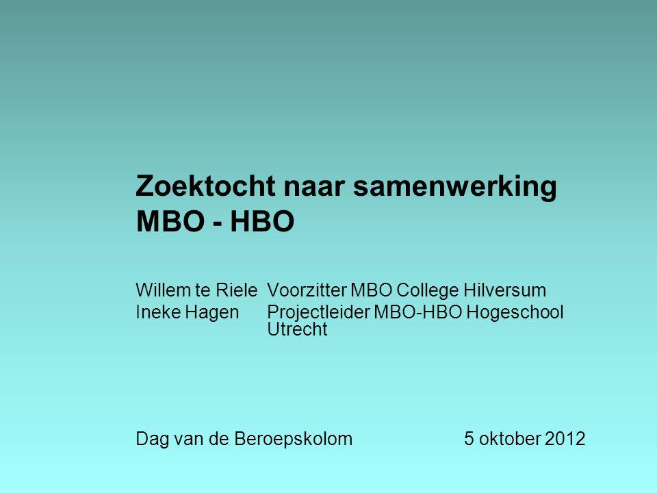 Zoektocht naar samenwerking MBO - HBO Willem te RieleVoorzitter MBO College Hilversum Ineke HagenProjectleider MBO-HBO Hogeschool Utrecht Dag van de B
