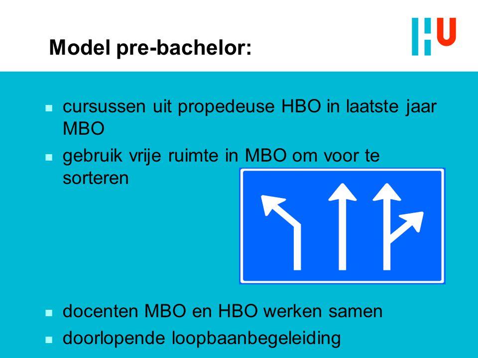 Model pre-bachelor: n cursussen uit propedeuse HBO in laatste jaar MBO n gebruik vrije ruimte in MBO om voor te sorteren n docenten MBO en HBO werken