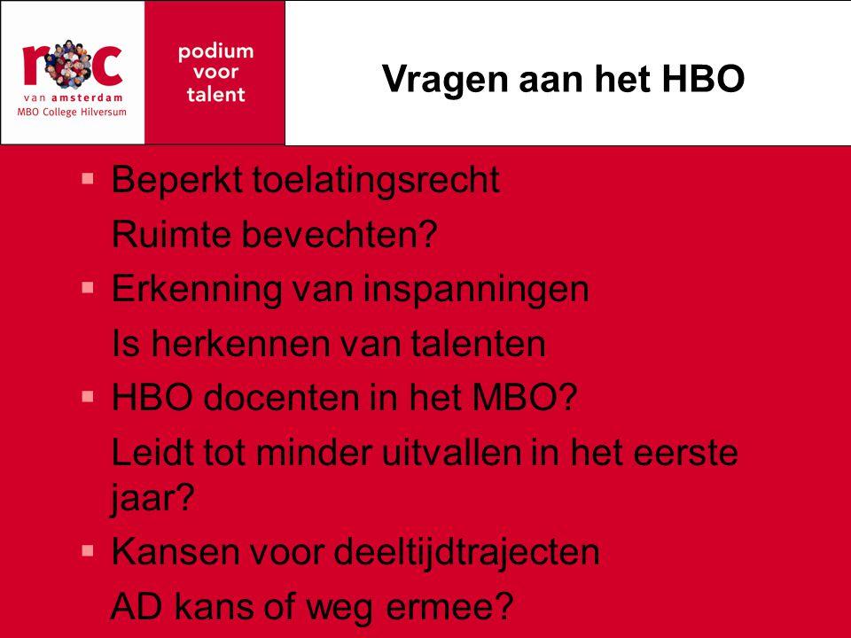  Beperkt toelatingsrecht Ruimte bevechten?  Erkenning van inspanningen Is herkennen van talenten  HBO docenten in het MBO? Leidt tot minder uitvall