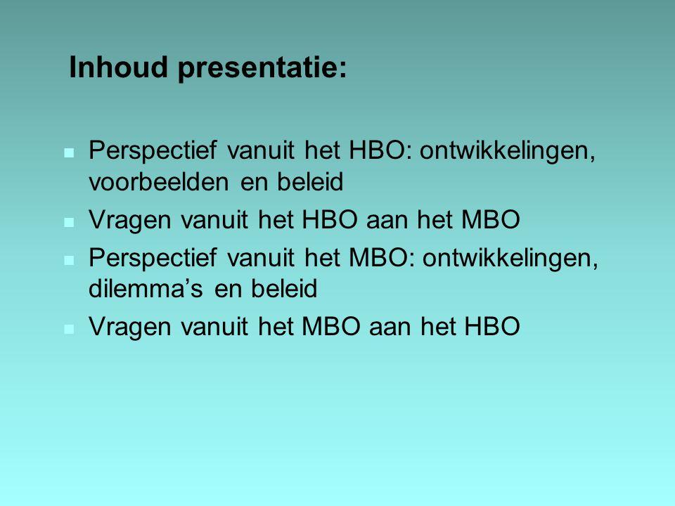 Inhoud presentatie: n Perspectief vanuit het HBO: ontwikkelingen, voorbeelden en beleid n Vragen vanuit het HBO aan het MBO n Perspectief vanuit het M