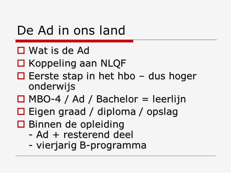 De Ad in ons land  Wat is de Ad  Koppeling aan NLQF  Eerste stap in het hbo – dus hoger onderwijs  MBO-4 / Ad / Bachelor = leerlijn  Eigen graad / diploma / opslag  Binnen de opleiding - Ad + resterend deel - vierjarig B-programma