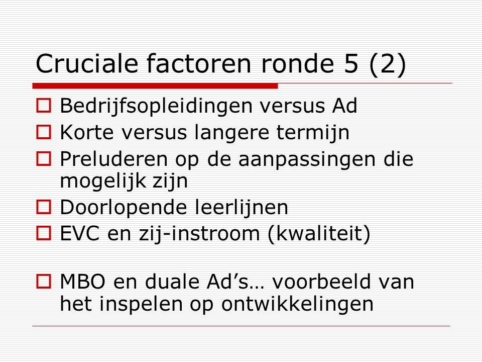 Cruciale factoren ronde 5 (2)  Bedrijfsopleidingen versus Ad  Korte versus langere termijn  Preluderen op de aanpassingen die mogelijk zijn  Doorlopende leerlijnen  EVC en zij-instroom (kwaliteit)  MBO en duale Ad's… voorbeeld van het inspelen op ontwikkelingen