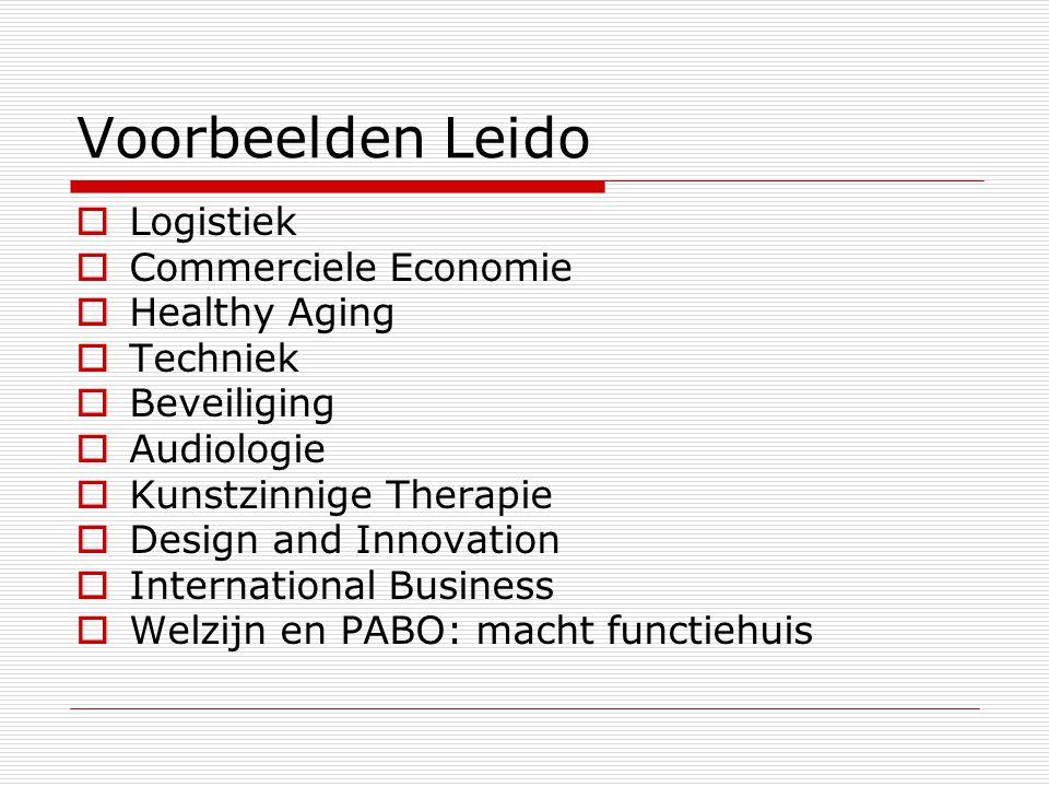 Voorbeelden Leido  Logistiek  Commerciele Economie  Healthy Aging  Techniek  Beveiliging  Audiologie  Kunstzinnige Therapie  Design and Innovation  International Business  Welzijn en PABO: macht functiehuis