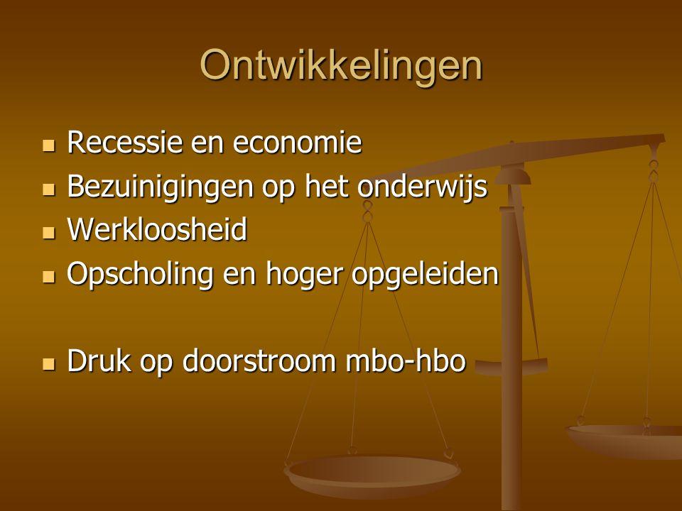 Ontwikkelingen Recessie en economie Recessie en economie Bezuinigingen op het onderwijs Bezuinigingen op het onderwijs Werkloosheid Werkloosheid Opsch