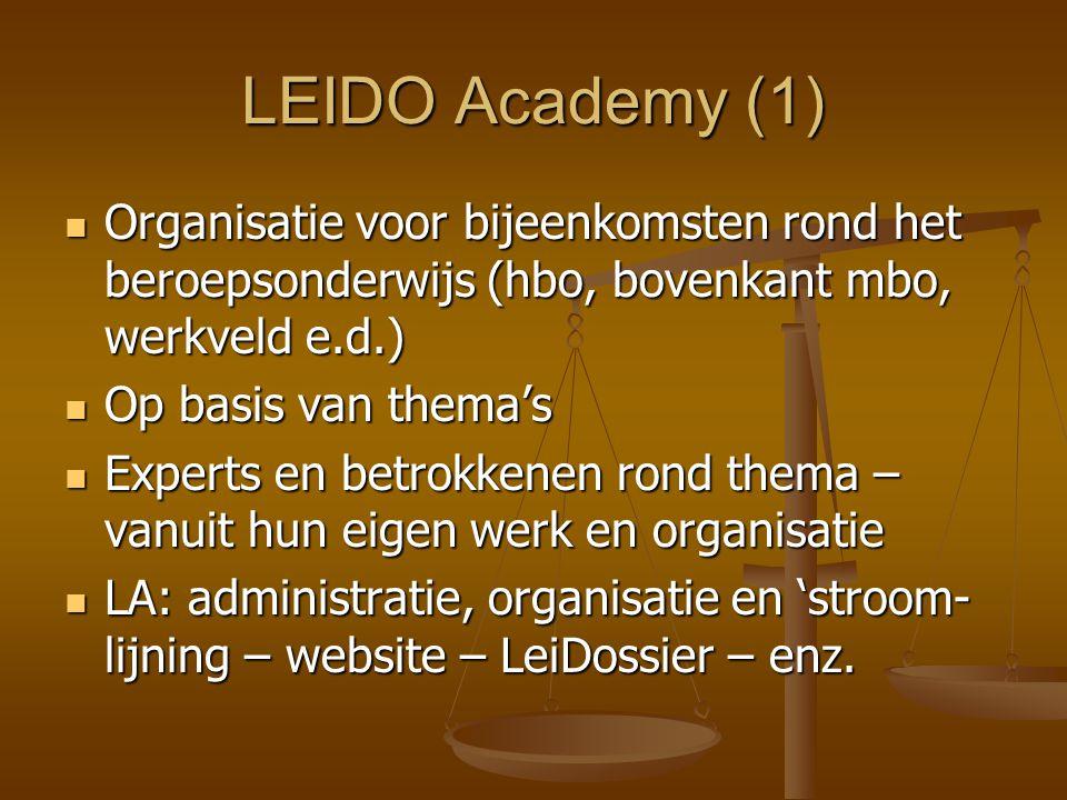 LEIDO Academy (1) Organisatie voor bijeenkomsten rond het beroepsonderwijs (hbo, bovenkant mbo, werkveld e.d.) Organisatie voor bijeenkomsten rond het beroepsonderwijs (hbo, bovenkant mbo, werkveld e.d.) Op basis van thema's Op basis van thema's Experts en betrokkenen rond thema – vanuit hun eigen werk en organisatie Experts en betrokkenen rond thema – vanuit hun eigen werk en organisatie LA: administratie, organisatie en 'stroom- lijning – website – LeiDossier – enz.