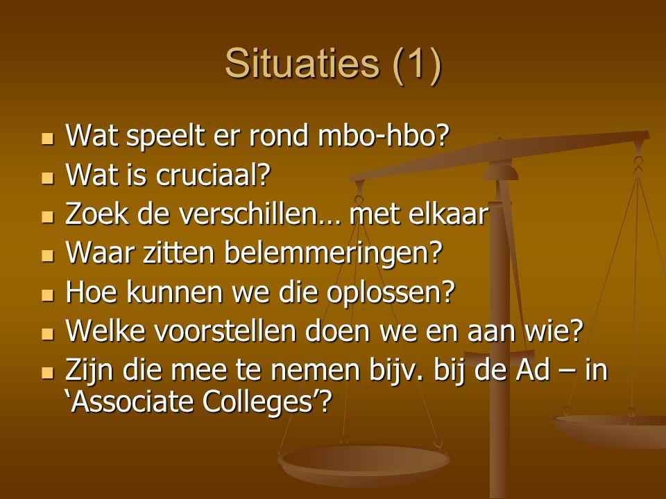 Situaties (1) Wat speelt er rond mbo-hbo? Wat speelt er rond mbo-hbo? Wat is cruciaal? Wat is cruciaal? Zoek de verschillen… met elkaar Zoek de versch