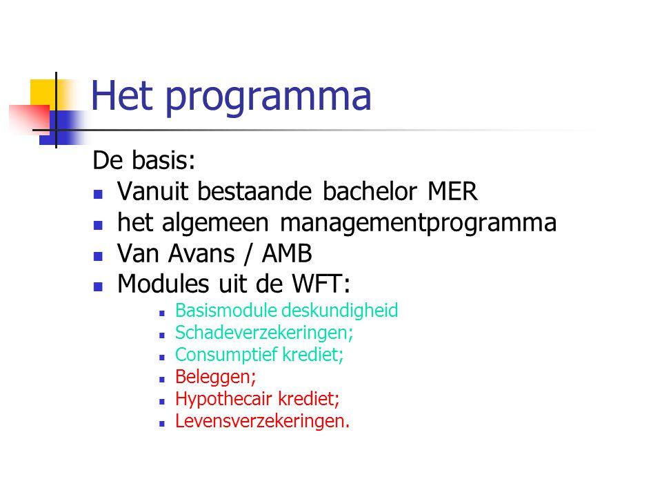 Het programma De basis: Vanuit bestaande bachelor MER het algemeen managementprogramma Van Avans / AMB Modules uit de WFT: Basismodule deskundigheid Schadeverzekeringen; Consumptief krediet; Beleggen; Hypothecair krediet; Levensverzekeringen.