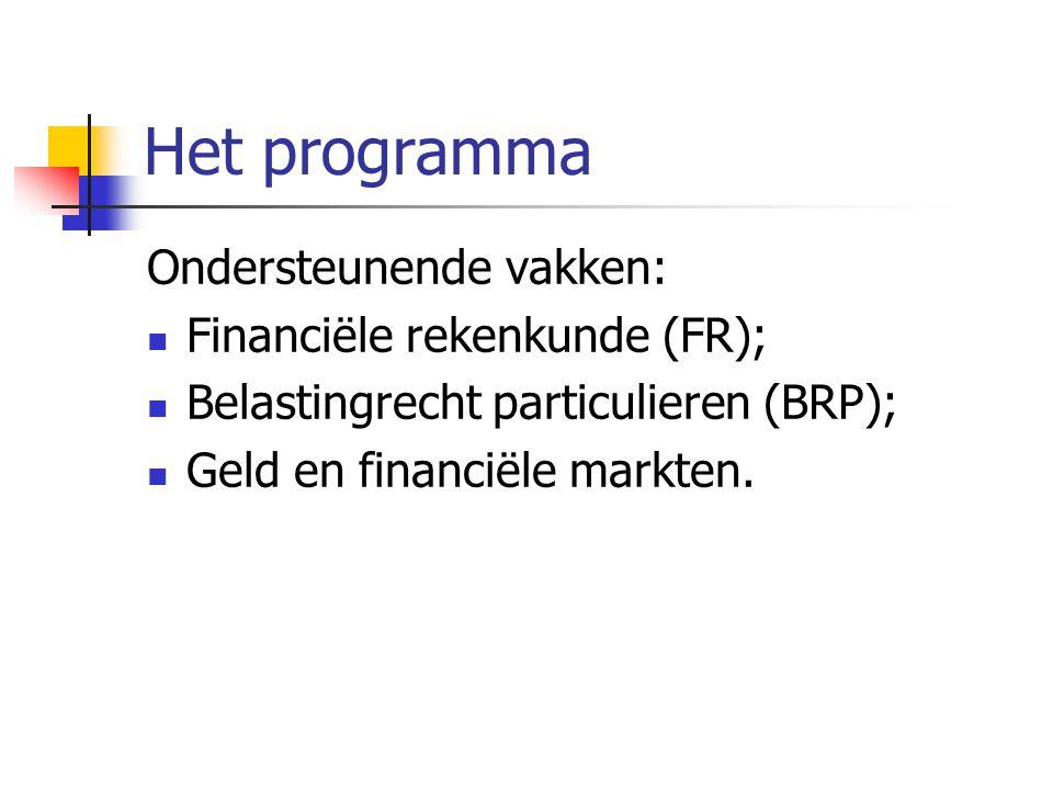 Het programma Ondersteunende vakken: Financiële rekenkunde (FR); Belastingrecht particulieren (BRP); Geld en financiële markten.