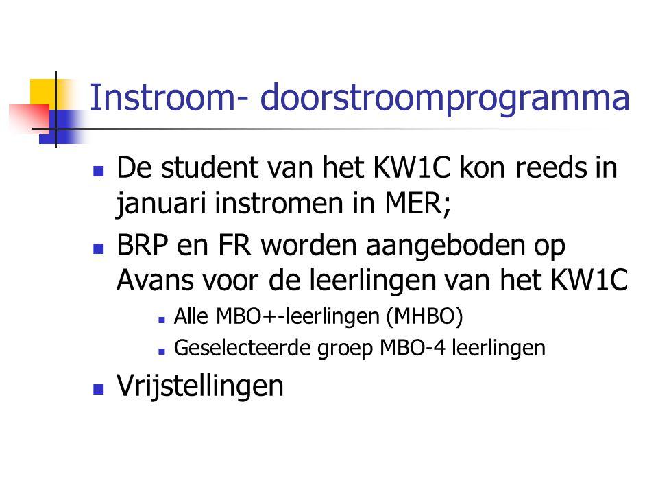 Instroom- doorstroomprogramma De student van het KW1C kon reeds in januari instromen in MER; BRP en FR worden aangeboden op Avans voor de leerlingen van het KW1C Alle MBO+-leerlingen (MHBO) Geselecteerde groep MBO-4 leerlingen Vrijstellingen
