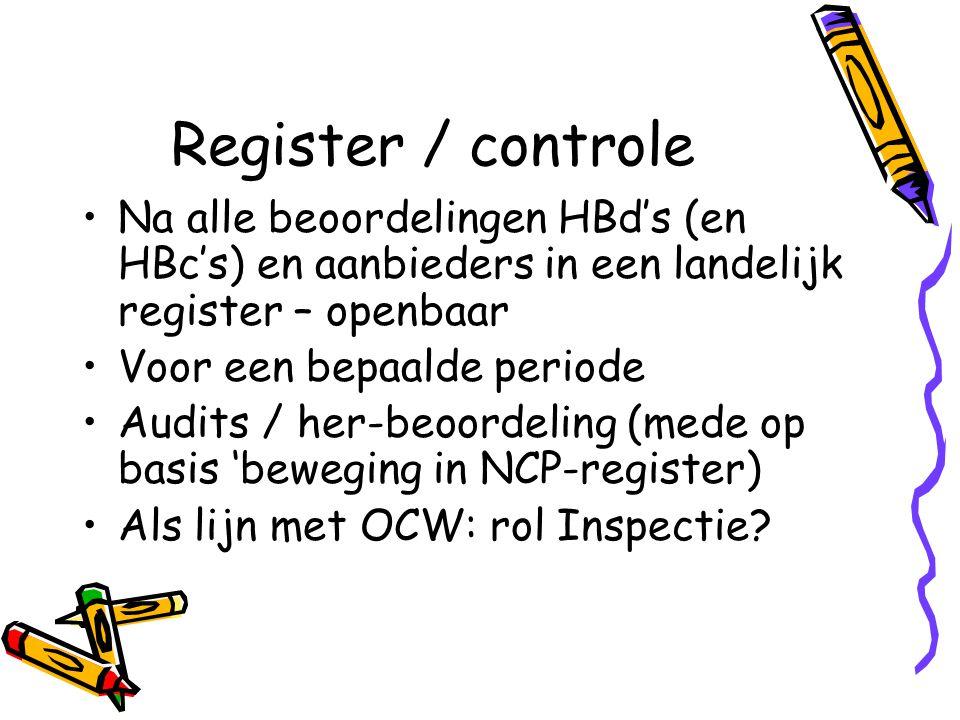 Register / controle Na alle beoordelingen HBd's (en HBc's) en aanbieders in een landelijk register – openbaar Voor een bepaalde periode Audits / her-b