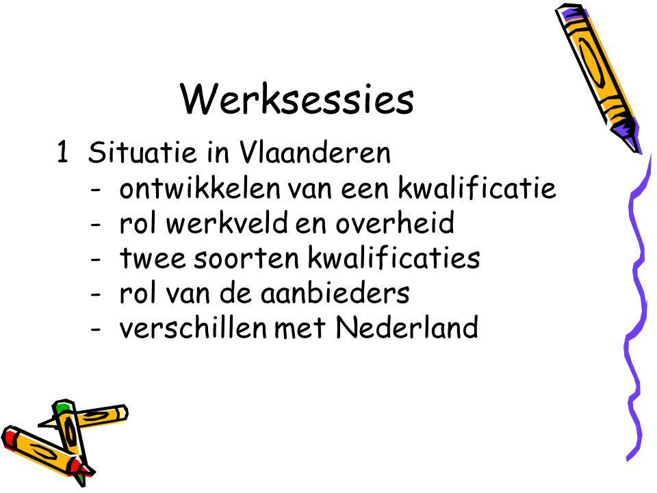 Werksessies 1 Situatie in Vlaanderen - ontwikkelen van een kwalificatie - rol werkveld en overheid - twee soorten kwalificaties - rol van de aanbieder