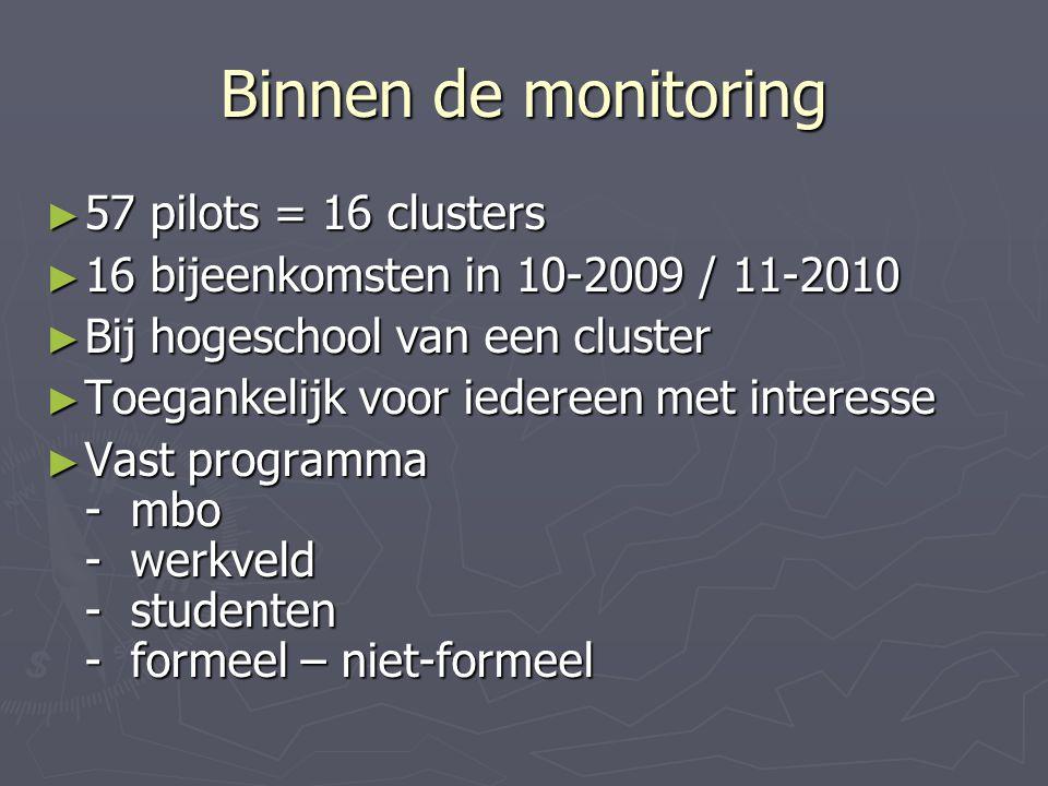Binnen de monitoring ► 57 pilots = 16 clusters ► 16 bijeenkomsten in 10-2009 / 11-2010 ► Bij hogeschool van een cluster ► Toegankelijk voor iedereen met interesse ► Vast programma - mbo - werkveld - studenten - formeel – niet-formeel
