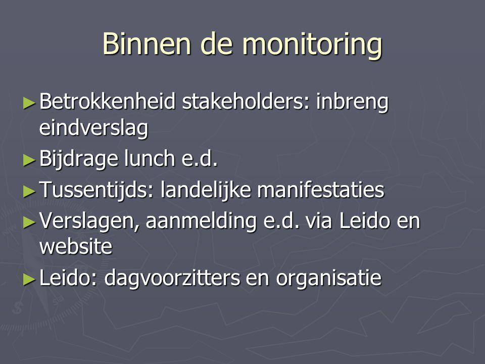 Binnen de monitoring ► Betrokkenheid stakeholders: inbreng eindverslag ► Bijdrage lunch e.d.
