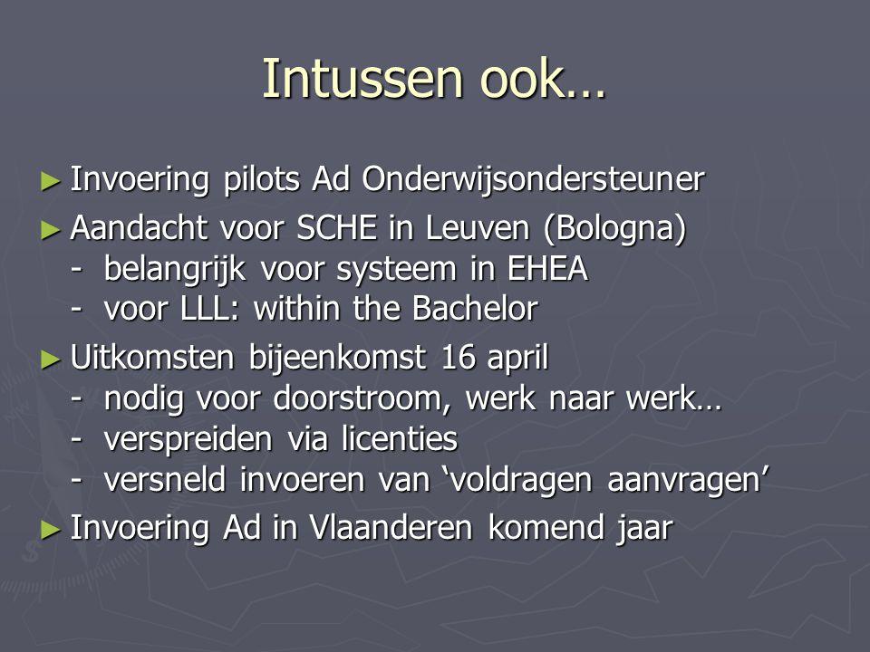 Intussen ook… ► Invoering pilots Ad Onderwijsondersteuner ► Aandacht voor SCHE in Leuven (Bologna) - belangrijk voor systeem in EHEA - voor LLL: within the Bachelor ► Uitkomsten bijeenkomst 16 april - nodig voor doorstroom, werk naar werk… - verspreiden via licenties - versneld invoeren van 'voldragen aanvragen' ► Invoering Ad in Vlaanderen komend jaar
