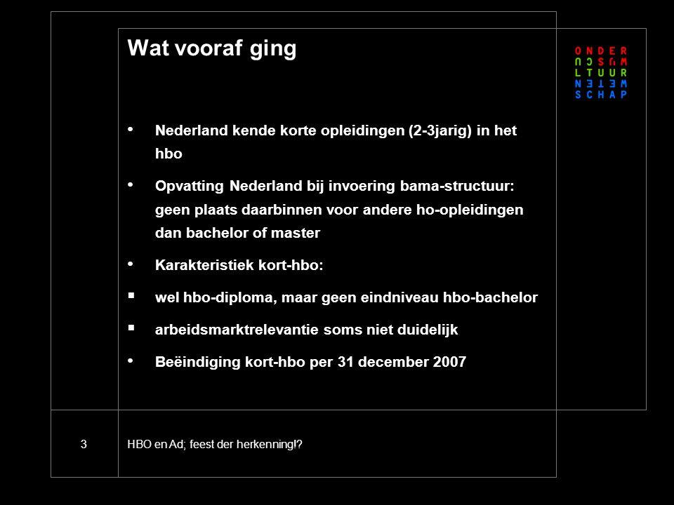 HBO en Ad; feest der herkenning!?3 Wat vooraf ging Nederland kende korte opleidingen (2-3jarig) in het hbo Opvatting Nederland bij invoering bama-stru