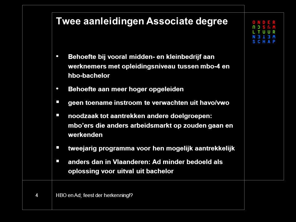 HBO en Ad; feest der herkenning!?4 Twee aanleidingen Associate degree Behoefte bij vooral midden- en kleinbedrijf aan werknemers met opleidingsniveau
