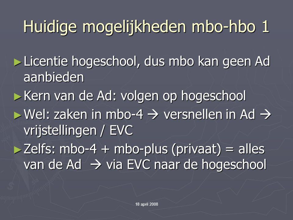18 april 2008 Huidige mogelijkheden mbo-hbo 1 ► Licentie hogeschool, dus mbo kan geen Ad aanbieden ► Kern van de Ad: volgen op hogeschool ► Wel: zaken