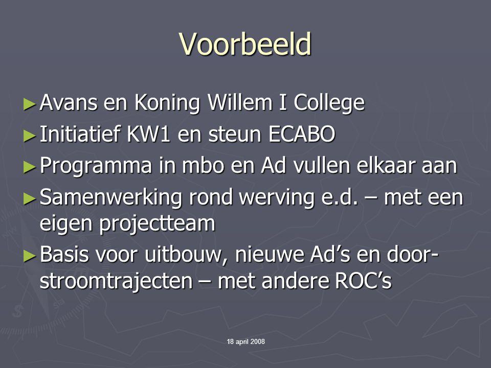 18 april 2008 Voorbeeld ► Avans en Koning Willem I College ► Initiatief KW1 en steun ECABO ► Programma in mbo en Ad vullen elkaar aan ► Samenwerking r