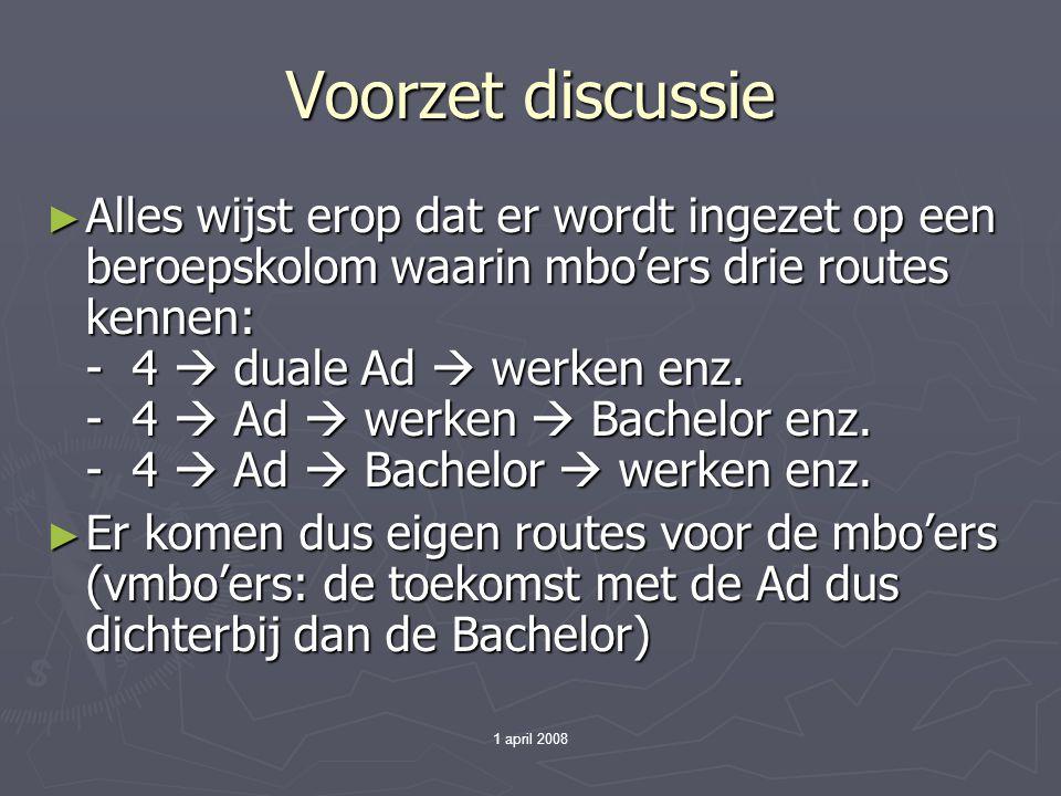 1 april 2008 Voorzet discussie ► Alles wijst erop dat er wordt ingezet op een beroepskolom waarin mbo'ers drie routes kennen: - 4  duale Ad  werken enz.