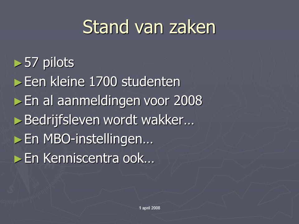 1 april 2008 Stand van zaken ► 57 pilots ► Een kleine 1700 studenten ► En al aanmeldingen voor 2008 ► Bedrijfsleven wordt wakker… ► En MBO-instellingen… ► En Kenniscentra ook…