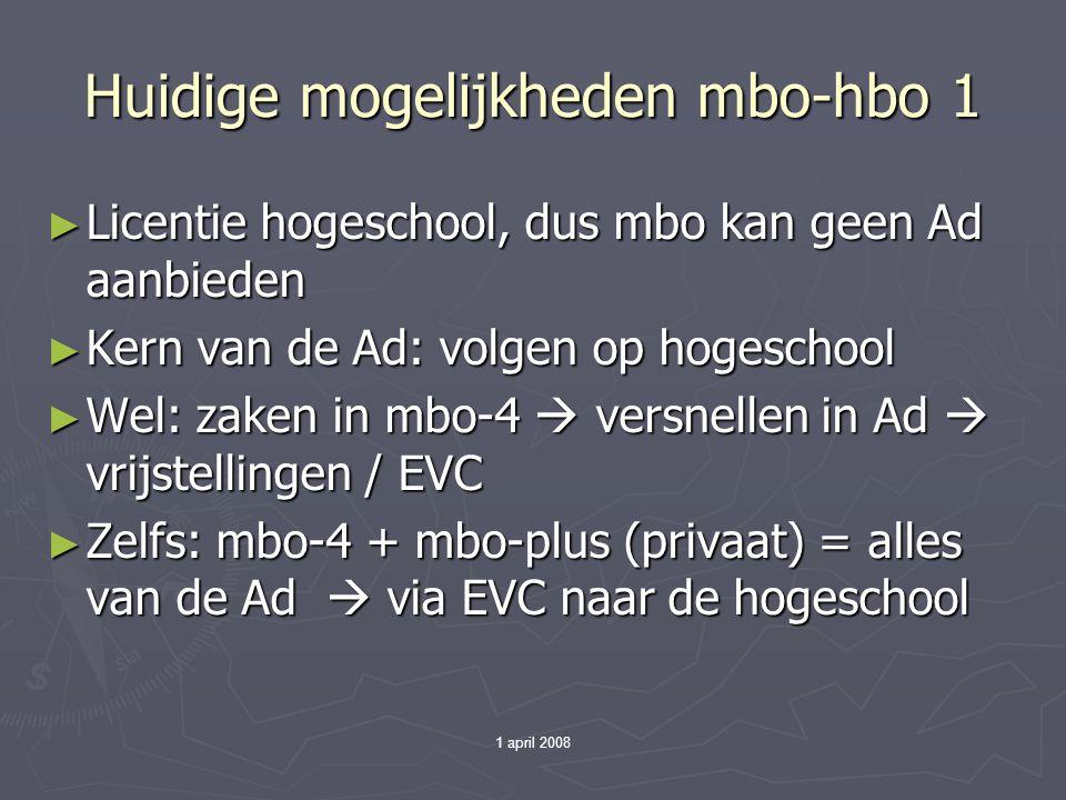 1 april 2008 Huidige mogelijkheden mbo-hbo 1 ► Licentie hogeschool, dus mbo kan geen Ad aanbieden ► Kern van de Ad: volgen op hogeschool ► Wel: zaken in mbo-4  versnellen in Ad  vrijstellingen / EVC ► Zelfs: mbo-4 + mbo-plus (privaat) = alles van de Ad  via EVC naar de hogeschool