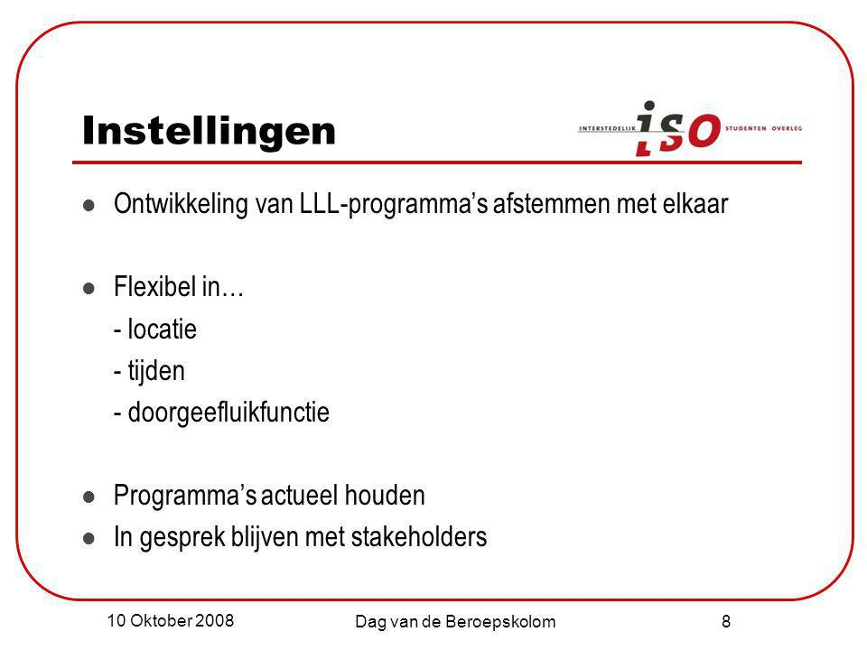 10 Oktober 2008 Dag van de Beroepskolom 8 Instellingen Ontwikkeling van LLL-programma's afstemmen met elkaar Flexibel in… - locatie - tijden - doorgee