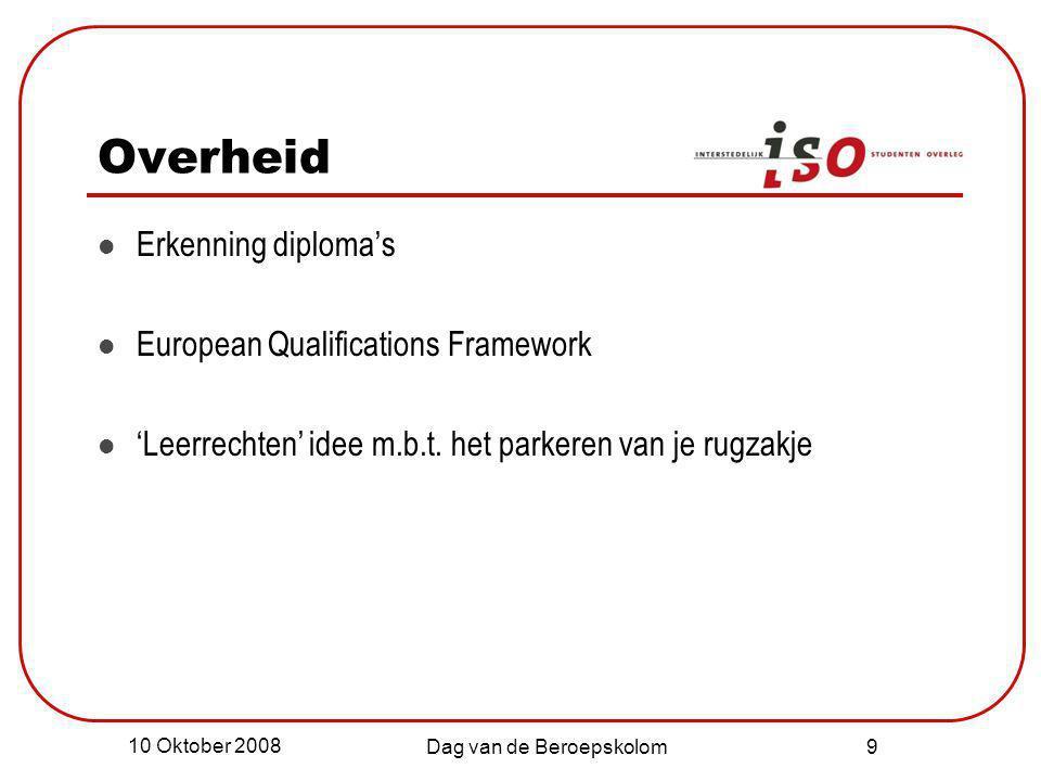 10 Oktober 2008 Dag van de Beroepskolom 10 LLL volgens ISO Flexibiliteit!.